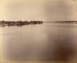 Agra. Ram Bagh. General view of ancient buildings lining the west bank of the Jumna looking up the river from Ram Bagh